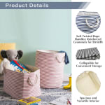 Paper Storage Bin Pinstripe Black Rectangle Medium 15x10x12 - 8