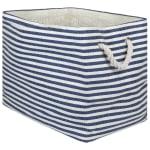 Paper Storage Bin Pinstripe Nautical Blue Rectangle Large 17x12x12 - 2