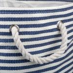 Paper Storage Bin Pinstripe Nautical Blue Rectangle Large 17x12x12 - 3