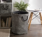 Paper Storage Bin Diamond Basketweave Black/White Rectangle Medium 15x10x12 - 1