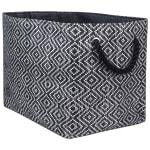 Paper Storage Bin Diamond Basketweave Black/White Rectangle Medium 15x10x12 - 3