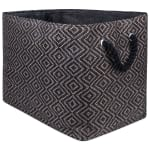 Paper Storage Bin Diamond Basketweave Gray/White Rectangle Medium 15x10x12 - 2