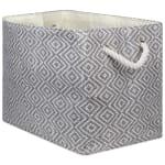 Paper Storage Bin Diamond Basketweave Stone/Black Rectangle Large 17x12x12 - 2