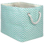 Paper Storage Bin Chevron Aqua Rectangle Medium 15x10x12 - 2