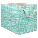 Paper Storage Bin Tweed Aqua Rectangle Large 17x12x12 - 2