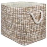 Paper Storage Bin Tweed Stone Rectangle Large 17x12x12 - 1
