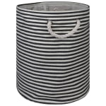Paper Storage Bin Pinstripe Black Round Medium 13.75x13.75x17 - 2