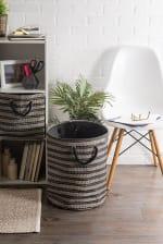 Paper Storage Bin Basketweave Stone/Black Round Large 20x15x15 - 2