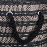 Paper Storage Bin Basketweave Stone/Black Round Large 20x15x15 - 3