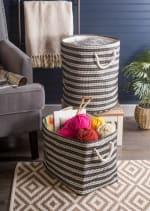 Paper Storage Bin Basketweave Stone/Black Round Large 20x15x15 - 5