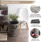 Paper Storage Bin Basketweave Stone/Black Round Large 20x15x15 - 7
