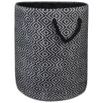 Paper Storage Bin Diamond Basket weave Black/White Round Medium - 2