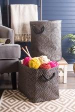 Paper Storage Bin Diamond Basketweave Stone/Black Round Large 20x15x15 - 1
