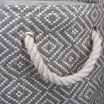 Paper Storage Bin Diamond Basketweave Stone/Black Round Large 20x15x15 - 4