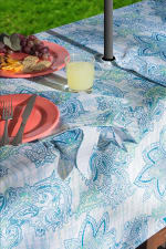 Blue Watercolor Paisley Print Outdoor Tablecloth With Zipper 60 Round - 6
