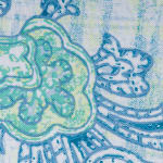 Blue Watercolor Paisley Print Outdoor Tablecloth 60 Round - 3