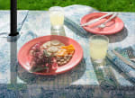 Blue Watercolor Paisley Print Outdoor Tablecloth With Zipper 60x84 - 1