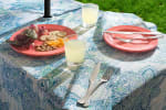 Blue Watercolor Paisley Print Outdoor Tablecloth With Zipper 60x120 - 1
