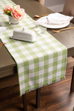 """72"""" Spring Green Check Table Runner with Fringe - 1"""