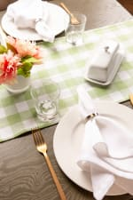 """72"""" Spring Green Check Table Runner with Fringe - 6"""