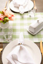 """72"""" Spring Green Check Table Runner with Fringe - 8"""