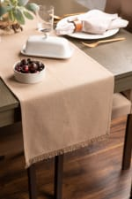 Solid Stone Heavyweight Fringed Table Runner 14x108 - 1