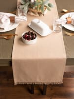 Solid Stone Heavyweight Fringed Table Runner 14x72 - 1