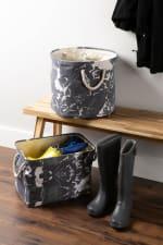 Polyester Storage Bin Marble Black Round Medium 12x15x15 - 3