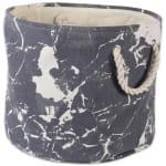 Polyester Storage Bin Marble Black Round Large 15x16x16 - 3
