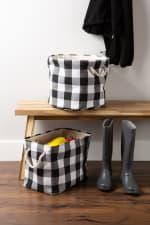Polyester Storage Bin Buffalo Check White/Black Rectangle Medium 16x10x12 - 6