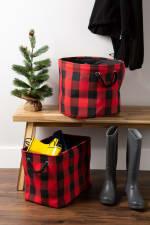 Polyester Storage Bin Buffalo Check Red/Black Round Medium 12x15x15 - 4