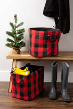 Polyester Storage Bin Buffalo Check Red/Black Rectangle Medium - 5