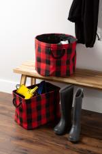 Polyester Storage Bin Buffalo Check Red/Black Rectangle Large - 3