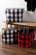 Polyester Storage Bin Buffalo Check Red/Black Rectangle Large - 5