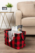 Polyester Storage Bin Buffalo Check Red/Black Rectangle Large - 7