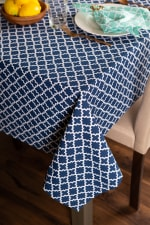 Nautical Blue Lattice Tablecloth 60x104 - 1
