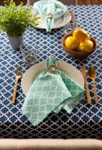 Nautical Blue Lattice Tablecloth 60x104 - 3