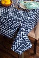 Nautical Blue Lattice Tablecloth 60x120 - 1