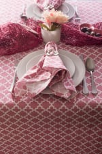 "Pink Rose Geometric 60X120"" Tablecloth - 1"