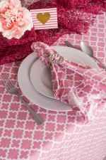 "Pink Rose Geometric 60X120"" Tablecloth - 2"