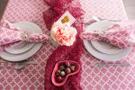"Pink Rose Geometric 60X120"" Tablecloth - 3"