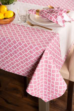 "Pink Rose Geometric 60X120"" Tablecloth - 4"