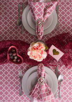 "Pink Rose Geometric 60X120"" Tablecloth - 6"