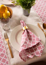 "Pink Rose Geometric 60X120"" Tablecloth - 9"
