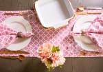 "Pink Rose Geometric 14X72"" Table Runner - 1"