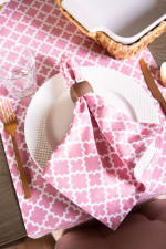 "Pink Rose Geometric 14X72"" Table Runner - 2"