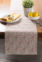 Natural Base Embroidered Flowers Table Runner - 1