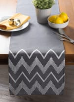 Gray Base Embroidered Chevron Table Runner - 1