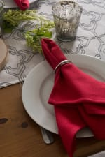 Off White Base Embroidered Lattice Table Runner - 6