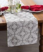 Off White Base Embroidered Lattice Table Runner - 7